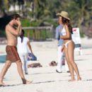 Eiza Gonzalez – In white bikini on the beach in Tulum