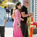 Selena Gomez in Red and White Dress – Out in Los Angeles