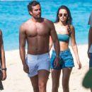 Lucy Watson in Bikini Top and Shorts on the beach in Barbados - 454 x 639
