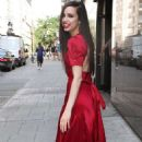 Sofia Carson in Red Dress at Good Day New York Studios in NY - 454 x 756