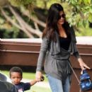 Sandra Bullock: picks up son Louis from school in Los Angeles
