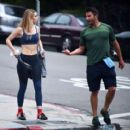Suki Waterhouse in Tights hike with a personal trainer in Los Angeles February 9, 2017