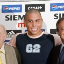 Florentino Perez (R) signed Ronaldo in 2002 for £36.3million from Inter Milan