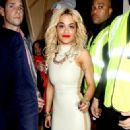 Rita Ora seen leaving DSTRKT night club at 3am in the small hours of the morning wearing a PVC dress
