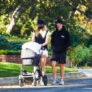 Sophie Turner and Joe Jonas – Out for a walk with their new baby Willa in Los Angeles - 454 x 303