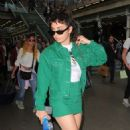Charli XCX in Green – Arriving at the Kings Cross St Pancras Station in London - 454 x 750