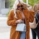 Khloe Kardashian in Brown Coat – Out in Sherman Oaks