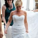 "Amy Poehler: swept through Carroll Gardens in a wedding gown to shoot a scene for ""They Came Together"" in Brooklyn"