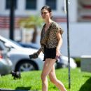 Phoebe Tonkin in Black Denim Shorts in Los Angeles - 454 x 568