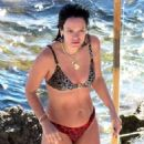 Lily Allen – In animal printed bikini on holidays in Capri