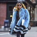 Suki Waterhouse in Blue Fur Coat out in Soho February 3, 2017 - 454 x 460