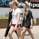 Miley Cyrus in Red Shorts with Liam Hemsworth out in Australia
