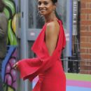 Alesha Dixon in Red Dress out in Soho - 454 x 1043