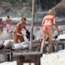 Ashley Tisdale in Red Bikini at a beach in Mexico - 454 x 412