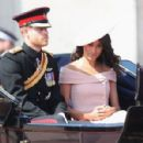 Prince Harry Windsor and Meghan Markle attend the 2018 Trooping the Colour ceremony - 454 x 298