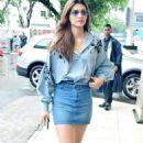 Kriti Sanon in Denim Skirt at Airport in Mumbai - 454 x 779