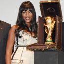 Naomi Campbell Presents The Official FIFA World Cup Trophy Case In Paris, June 1 2010