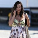 Olivia Munn in Mini Dress On 'The Buddy Games' set in Vancouver - 454 x 681