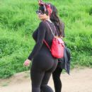 Blac Chyna in Tights with her friends at Runyon Canyon in LA