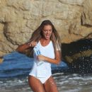 Charlie Riina gets her t-shirt wet and see through on the set of a 138 Water photoshoot in Malibu, CA on October 18th 2015 - 388 x 600