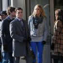Blake Lively and Leighton Meester 2009-11-18 - on the set of Gossip Girl