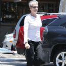 Jamie Lee Curtis seen leaving the Beverly Glen Deli after lunch in Beverly Hills, California on June 18, 2012