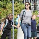 Jennifer Garner is spotted out and about with her daughters Seraphina & Violet on April 10, 2015 in Santa Monica, California