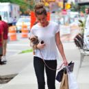 Amber Heard strolled around the Tribeca area of New York City, New York on August 27, 2012 with her dog Pistol