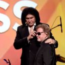 Gene Simmons and singer/songwriter Paul Williams, President of ASCAP appear onstage at the 32nd Annual ASCAP Pop Music Awards at the Loews Hollywood Hotel on April 29, 2015 in Los Angeles, California - 454 x 523