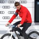 Real Madrid player Sergio Ramos receives a new Audi S8 at the Ciudad Deportiva del Real Madrid on December 1, 2014 in Madrid, Spain