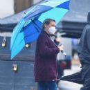 Hilary Duff – Seen on the rain on the set of 'Younger' in Westbury