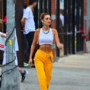 Bella Hadid in Yellow Pants and White Top – Out in NYC
