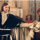 Joseph Fiennes as Bassanio (left) and Mackenzie Crook as Lancelot