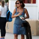 Jean-na Coleman! Doctor Who Star wears retro denim dress and sandals for sunny day out in Primrose Hill