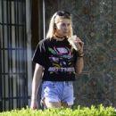 Jessica Hart in Denim Shorts out in LA - 454 x 503