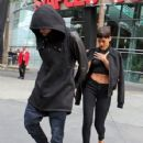 Chris Brown and Rihanna leaving the Los Angeles Lakers basketball game at Staples Center Los Angeles,December 25, 2012