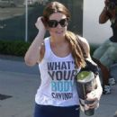 Ashley Greene In Blue Leggings At The Gym In West Hollywood