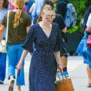 Dakota Fanning in Blue Long Dress out in New York