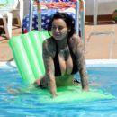 Jemma Lucy in Bikini on the pool in Portugal - 454 x 391
