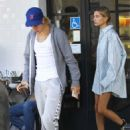 Hailey Baldwin in Oversized Shirt at Joans on Third in Los Angeles