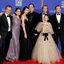 David Heyman, Shannon McIntosh, Margaret Qualley, Quentin Tarantino, Brad Pitt, Julia Butters, and Leonardo DiCaprio At The 77th Golden Globe Awards (2020)