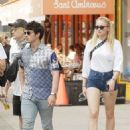 Sophie Turner in Jeans Shorts with Joe Jonas out for lunch in Soho
