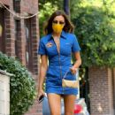 Irina Shayk – In blue mini dress and boots out in New York City
