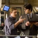 Cub photographer Jimmy Olsen (SAM HUNTINGTON, left) greets Clark Kent (BRANDON ROUTH) upon his return to the Daily Planet building in Warner Bros. Pictures' and Legendary Pictures' action adventure Superman Returns. Photo by David James - 454 x 303
