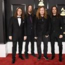 Musicians David Ellefson, Dirk Verbeuren, Dave Mustaine, and Kiko Loureiro of musical group Megadeth attend The 59th GRAMMY Awards at STAPLES Center on February 12, 2017 in Los Angeles, California. - 454 x 303