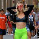 Joy Corrigan – Wearing neon green tights during an impromptu photo shoot in Soho in New York City - 454 x 454