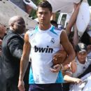 Cristiano Ronaldo and his teammates leaving their hotel and heading to practice in Beverly Hills, California on July 31, 2012