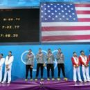 US swim team after winning gold in 4x200-meter freestyle relay in London (July 31)