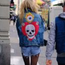 Stella Maxwell in Denim Shorts – Out in New York City - 454 x 790