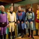 Sam Lloyd as Herman Brainard, Ray Griggs as Puffer Boy, Ryan McPartlin as Will Powers, Danielle Harris as Felicia Freeze and Justin Whalin as Ed Gruberman in Super Capers. Photo by Phil Nee. - 454 x 302